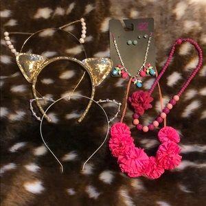 Girls Cat Ear Headbands & Necklaces Bundle